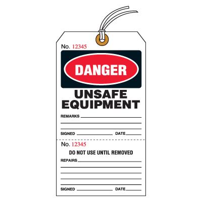 Tear-Off Jumbo Unsafe Equipment Tags