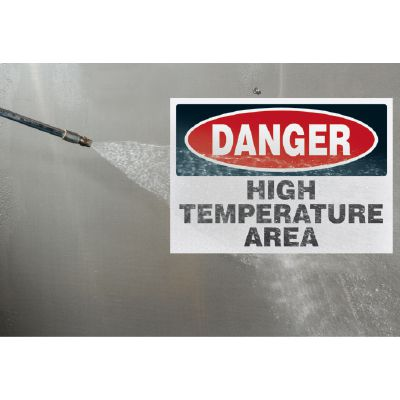 Temperature Warning Signs - Danger High Temperature Area