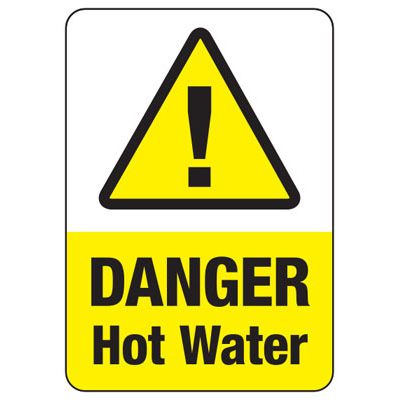 Temperature Warning Signs - Caution Hot Water