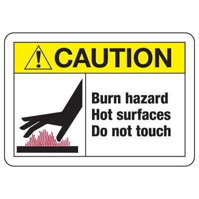 Temperature Warning Signs - Caution Burn Hazard Hot Surfaces Do Not Touch (with Graphic)