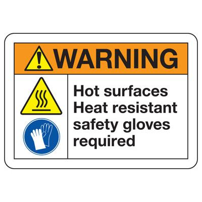 Temperature Warning Signs - Warning Hot Surfaces Heat Resistant Safety Gloves Required (with Graphic)