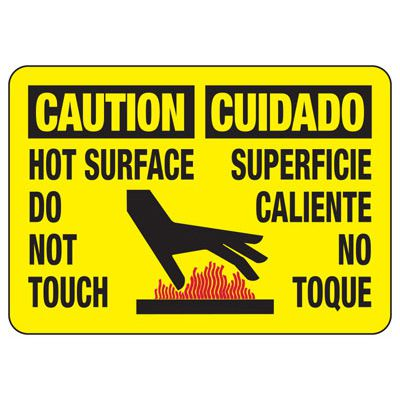 Temperature Warning Signs - Caution Hot Surface Do Not Touch/Cuidado Superficie Caliente No Toque