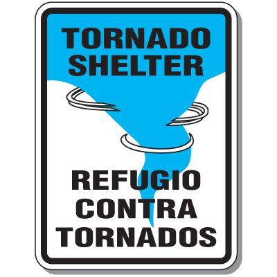 Tornado Shelter - Bilingual Evacuation Signs