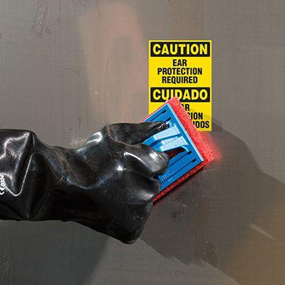 ToughWash® Labels - Caution Ear Protection (Bilingual)