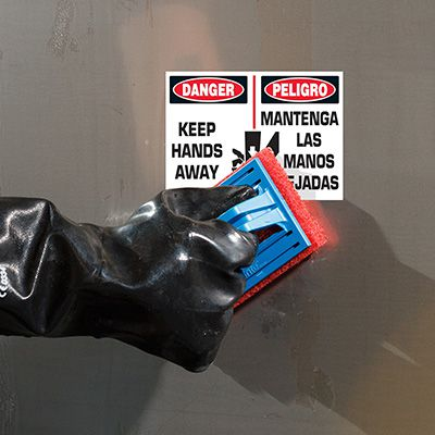 ToughWash® Labels - Danger Keep Hands Away (English/Spanish)
