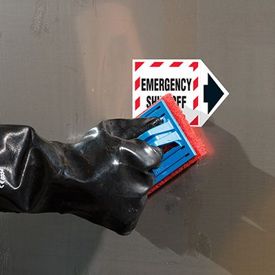 ToughWash® Labels - Emergency Shut-Off (With Arrow)