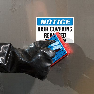 ToughWash® Labels - Notice Hair Covering Required