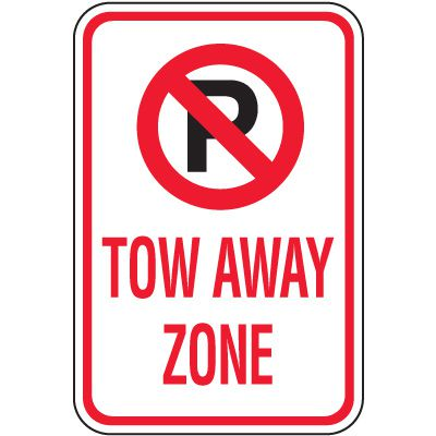 Tow Away Zone Signs - Tow Away Zone With Graphic
