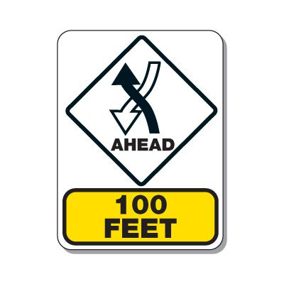 Traffic Pattern Sign - Left Hand Traffic Ahead 100 FT