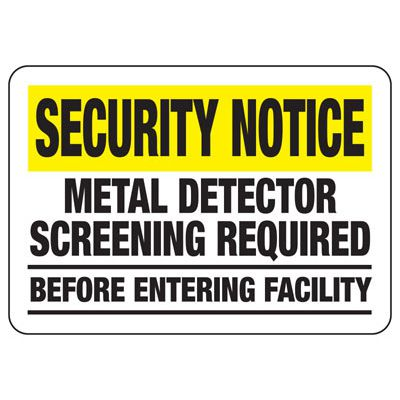 Metal Detector Screening Required - Metal Detector Signs