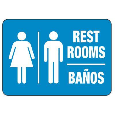 Bilingual Unisex Restroom Sign