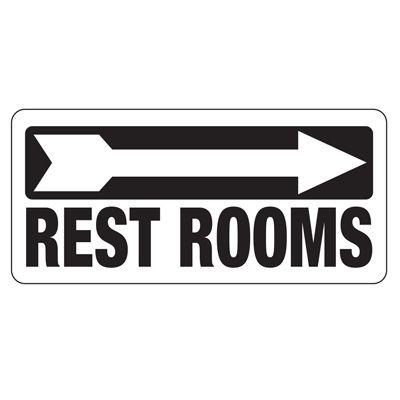 Restrooms Sign (Right Arrow)