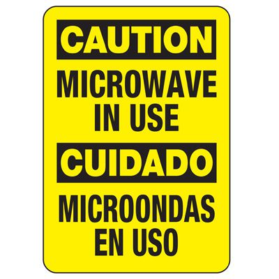 Bilingual Microwave In Use Sign