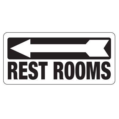Restrooms Sign (Left Arrow)