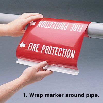 Ultra-Mark® Self-Adhesive High Performance Pipe Markers- Heating Supply