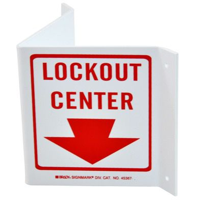 Brady Lockout Center - High Visibility Sign - Rigid - Red on White - Part Number - 45367 - 1/Each