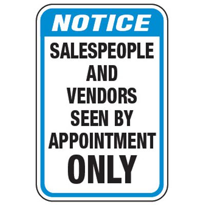 Vendors By Appointment Only - Property Protection Signs