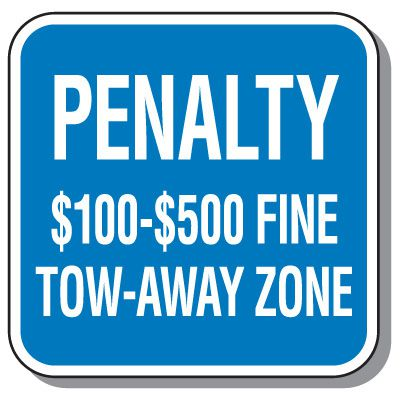 Virginia State Handicap Signs - $100 - $500 Fine