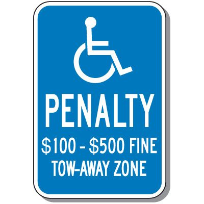 Virginia State Handicap Signs - Penalty $100 - $500 Fine
