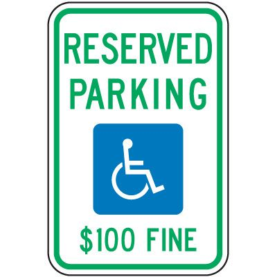 Virginia State Handicap Signs - Reserved Parking $100 Fine