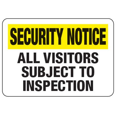 Visitors Subject To Inspection - Metal Detector Inspection Signs