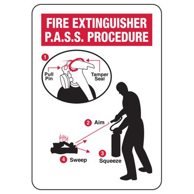 Fire Extinguisher P.A.S.S. Procedure Sign