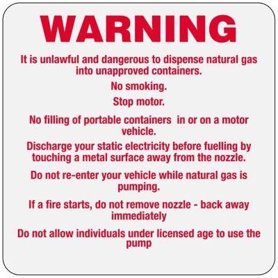 W-2 Custom Warning sign for Fuel Pumps - Vinyl