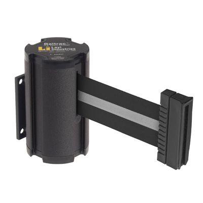 Beltrac® Wall-Mount Retractable Belts - Silver/Black Belt 50-3010WB/SB