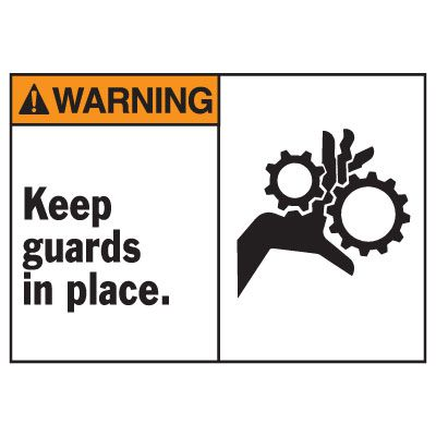 Warning Keep Guards In Place Equipment Decal
