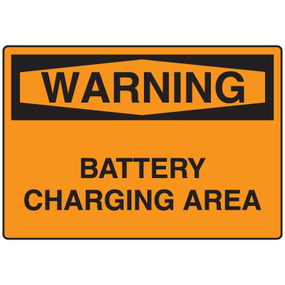 OSHA Warning Signs - Battery Charging Area
