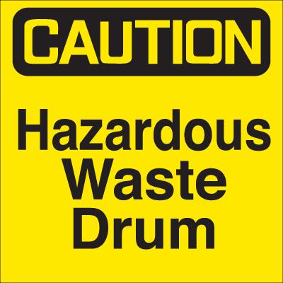 Waste Sort Labels - Caution Hazardous