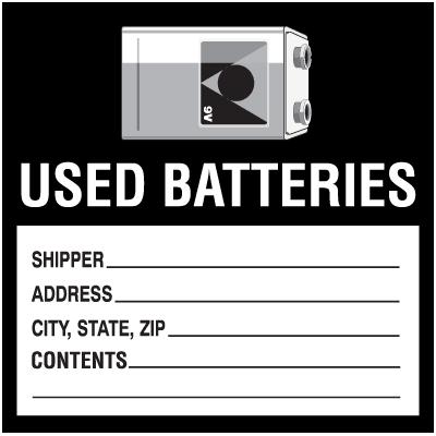 Waste Sort Labels - Used Batteries