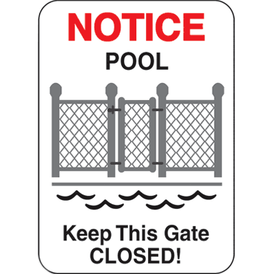 Water Safety Signs - Notice Pool Keep Gate Closed