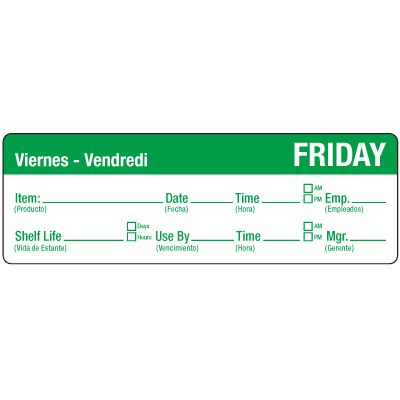 Water-Soluble Labels - Friday/Viernes-Verdi