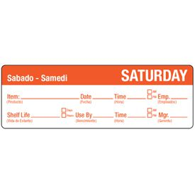 Water-Soluble Labels - Saturday/Sabado-Samedi