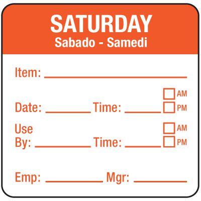 Water-Soluble Labels - Saturday/Sabado-Samedi