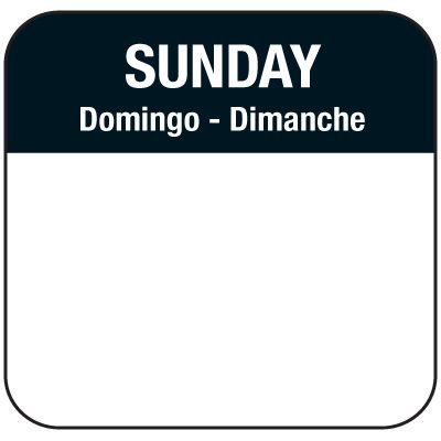 Water-Soluble Labels - Sunday/Domingo-Dimanche