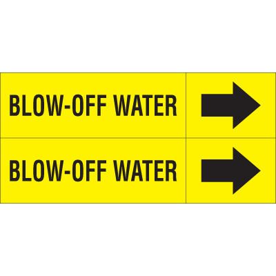 Weather-Code™ Self-Adhesive Outdoor Pipe Markers - Blow-Off Water
