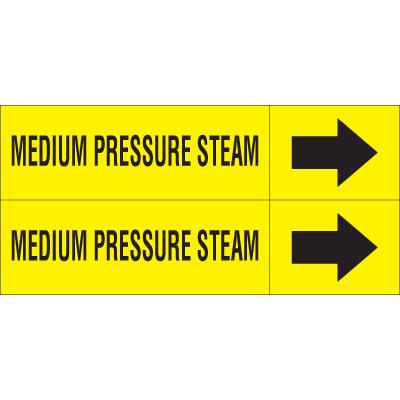 Weather-Code™ Self-Adhesive Outdoor Pipe Markers - Medium Pressure Steam