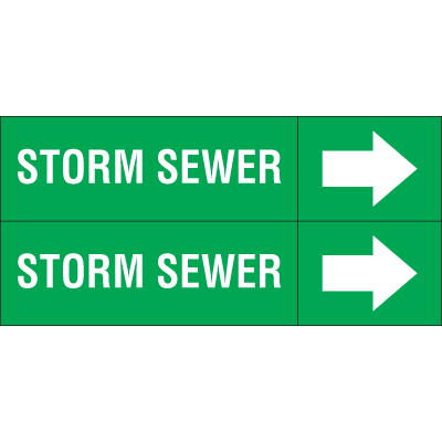 Weather-Code™ Self-Adhesive Outdoor Pipe Markers - Storm Sewer