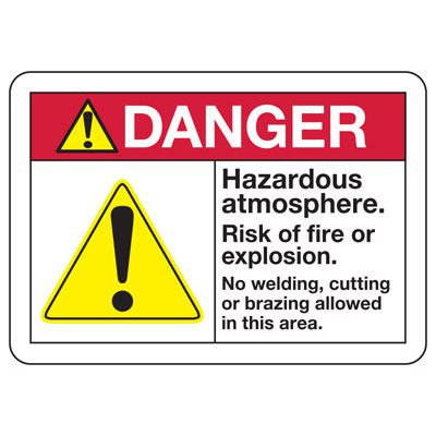 Danger Hazardous Atmosphere Risk Of Fire - PPE Sign