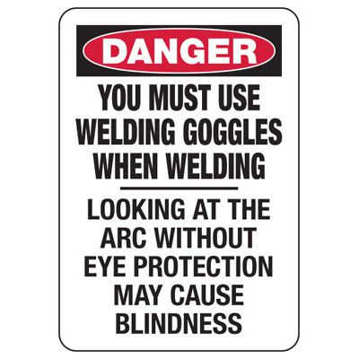 Danger Welding Area - Bilingual Industrial Hot Work Signs