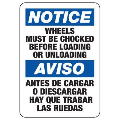 Notice Wheels Must Be Chocked - Bilingual Wheel Chock Signs
