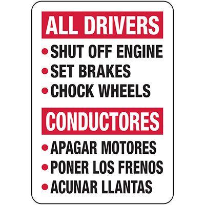 All Drivers Wheel Chock Rules - Bilingual Wheel Chock Signs
