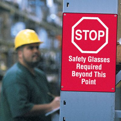 Workplace Safety Stop Sign - Safety Glasses Required