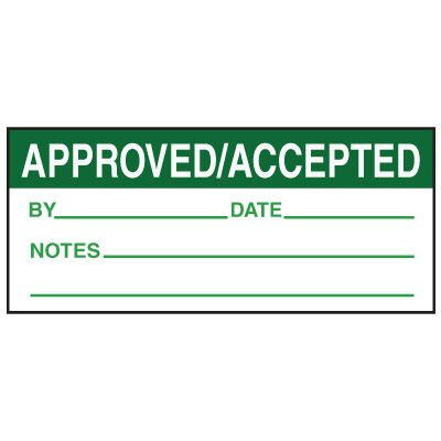 Write-On Action Labels - Approved / Accepted