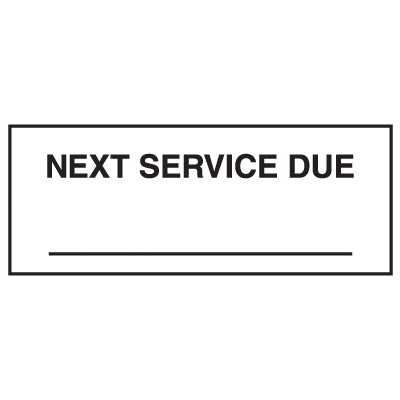 Next Service Due Write On Labels