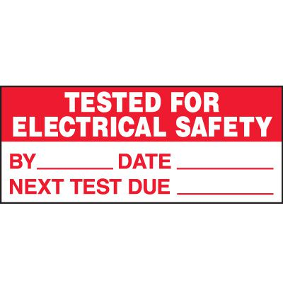 Tested For Electrical Status Labels