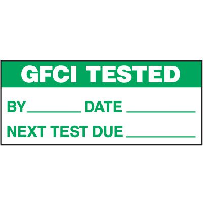 GFCI Tested Status Label