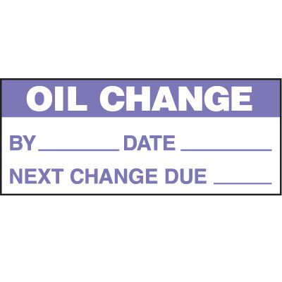 Oil Change Status Label